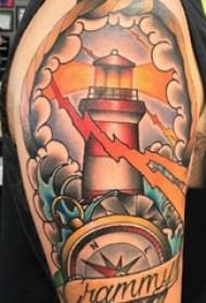 灯塔纹身男生手臂上文艺灯塔纹身图片