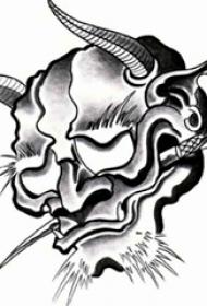 黑灰素描点刺技巧日本传统经典图腾般若纹身手稿