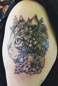 男生手臂上黑色点刺简单线条植物花朵和猫咪纹身图片
