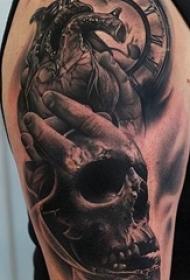 多款手臂上黑灰素描点刺技巧创意经典纹身图案