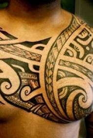 男生胸口上黑色素描创意几何元素部落纹身图片