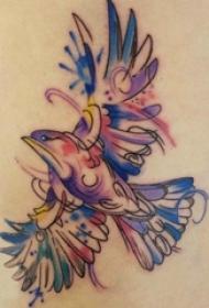 女生后背上彩绘渐变抽象线条小动物鸟纹身图片