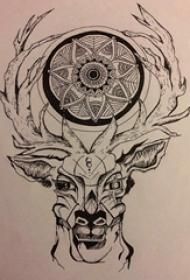 牛头纹身手稿黑色的霸气牛头纹身手稿
