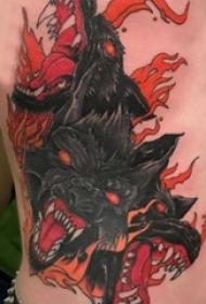 男生侧腰上彩绘渐变简单线条火焰和三头犬纹身图片