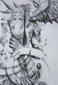 黑灰素描创意文艺霸气猫图腾纹身手稿