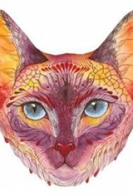 彩绘水彩素描创意俏皮可爱猫咪纹身手稿