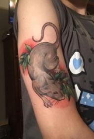 女生手臂上彩绘渐变简单线条植物叶子和老鼠纹身图片