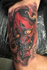 般若面具纹身 男生手臂上彩色的般若面具纹身图片