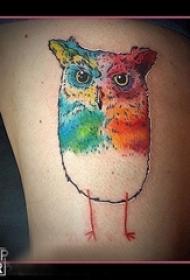 大腿纹身传统 女生大腿上彩色的猫头鹰纹身图片