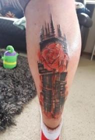 建筑物纹身 男生小腿上彩色的花朵和建筑物纹身图片