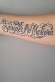 花体英文纹身 女生手臂上花体英文纹身黑色图片