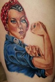 人物肖像纹身 女生大腿上彩色的人物肖像纹身图片