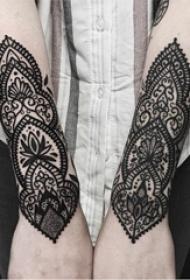 梵花纹身 女生手臂上黑色纹身梵花纹身唯美图片