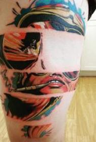 人物肖像纹身 男生大腿上个性的人物肖像纹身图片