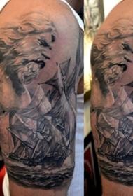 帆船纹身图片 男生手臂上帆船纹身黑色图片