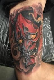 般若面具纹身 男生大臂上彩色的般若纹身图片