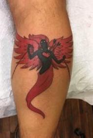 恶魔天使翅膀纹身 男生小腿上彩色的恶魔纹身图片