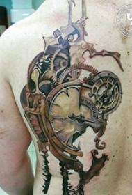 多款线条素描创意经典复古机械齿轮纹身图案