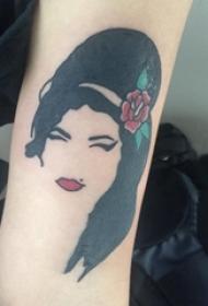 女生人物纹身图案 女生手臂上彩色的人物肖像纹身图片