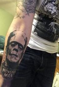 纹身人物 男生手臂上黑色纹身人物图片