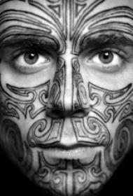 多款线条素描创意经典设计感十足的脸部纹身图案