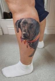 小狗纹身 男生小腿上小狗小动物纹身图片