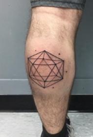 几何纹身 男生小腿上几何纹身黑色图片