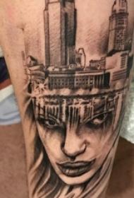 欧美小腿纹身 男生小腿上建筑物和人物肖像纹身图片
