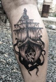 帆船纹身图片 男生小腿上帆船纹身图片