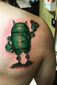 机器人纹身 男生后肩上彩色的机器人纹身图片
