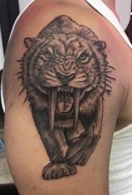 老虎图腾纹身 男生大臂上黑色的剑齿虎纹身图片