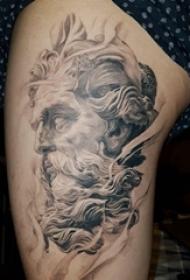大腿纹身图女 女生大腿上黑灰人物肖像纹身图片