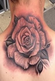 颈后优美艺术玫瑰纹身