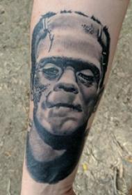 人物肖像纹身 男生手臂上写实人物肖像纹身图片