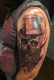 骷髅纹身 男生手臂上骷髅头纹身图片