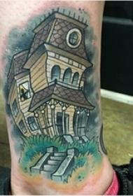 建筑物纹身 男生小腿上彩色的建筑物纹身图片