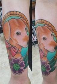 小狗纹身图片 女生手臂上彩绘纹身小狗纹身图片