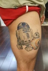 机器人纹身 男生大腿上彩色的机器人纹身图片
