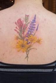纹身小花朵 女生后背上彩色的花朵纹身图片