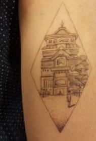 建筑物纹身 女生手臂上黑色的建筑物纹身图片