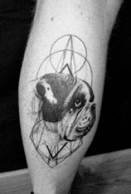 小狗纹身 男生小腿上小狗纹身图片