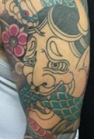 般若面具纹身 男生手臂上蛇和般若纹身图片