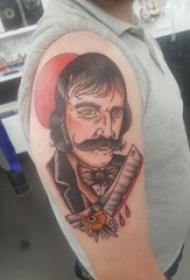人物肖像纹身 男生手臂上人物肖像纹身彩绘图片