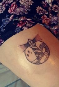 纹身灯塔 男生小腿上黑色的灯塔纹身图片