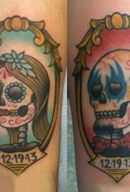 情侣纹身 情侣手臂上骷髅头纹身图片