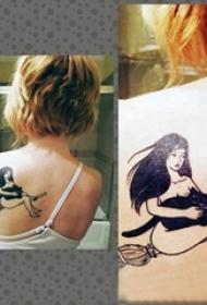 女生人物纹身图案 女生背部女生人物纹身图案