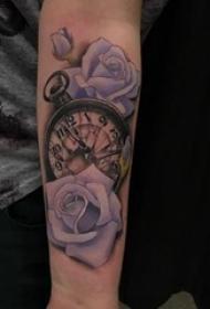 花朵纹身 男生手臂上欧美怀表纹身花朵图片