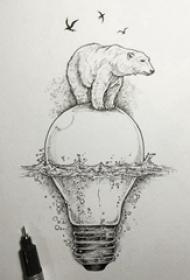 熊纹身 创意的北极熊和灯泡纹身手稿