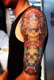 印第安纹身图案 男生手臂上印第安纹身图案