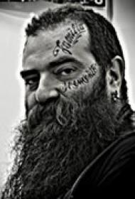 猛汉霸气脸部纹身